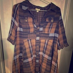 Brown plaid button up full dress